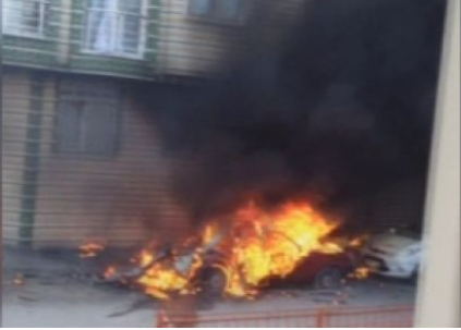Araç yanınca LPG tankı patladı