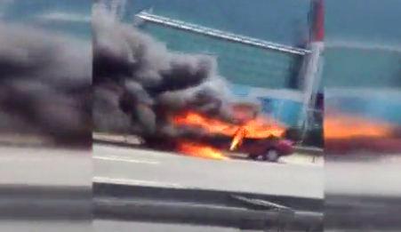 TEM'de bir araç yangını