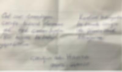 3 yaşındaki çocuk üzerinde notla terk edildi