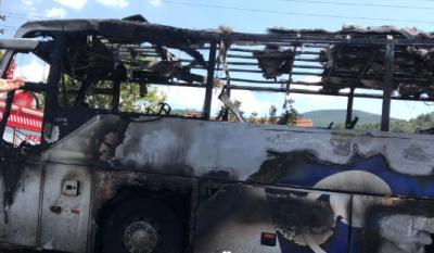 Balıkesir'de otobüs yandı 5 kişi öldü